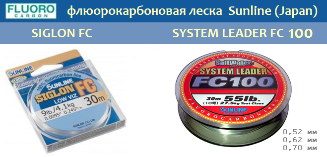 флюорокарбоновая леска Sunline Siglon FC, SYSTEM LEADER FC 100